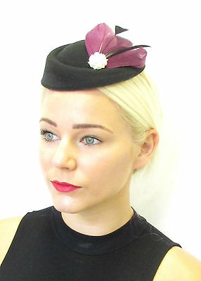 Plum Purple Black Feather Pillbox Hat Fascinator Headpiece Races Hair Vtg 423