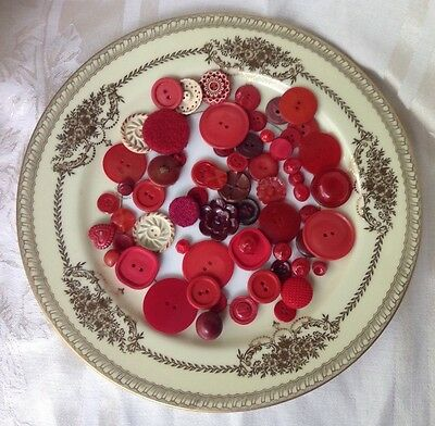 Lot of Vintage Shades of RED Buttons Flower Round Celluloid Plastic Sewing Craft