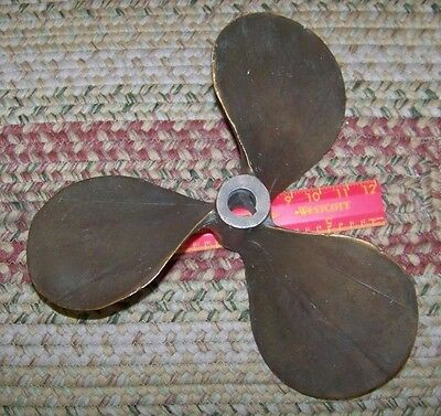 "Vintage/Antique 12-13"" Boat/Ship Marine Brass Prop Propeller 3-Blade 5/8"" shaft"
