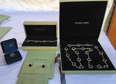 Four P Van Cleef & Arpels 18K Gold Necklace,bracelet,ring And Earring Set, Boxs