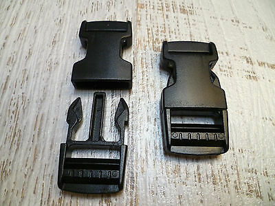 2 x Quick Side Release Buckle Clips - 25mm - Black - 2 Backpack Bag Clips