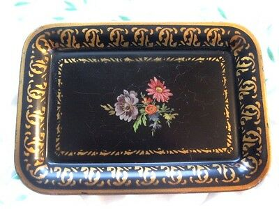 Classy Black Tole Metal Floral Dresser Tray -Shabby Antique Crackle Finnish