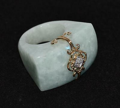 1920s Chinese Jade Ring with 14K Gold Insert