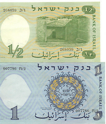 Bank of Israel 1958-60/ 5718-20 Issue 1/2 Lira 1 Lira Lot of 2 Notes EF