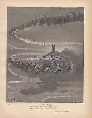 Saintly Creatures Flying In Heaven-Singing-1888 ANTIQUE VINTAGE ART PRINT-Gothic