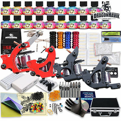 Tätowierung Komplett Tattoo Kit Set 4 Tattoomaschine DE color inks D139VD-13CE