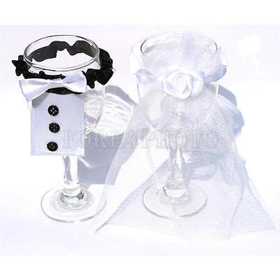 Bride Groom Wedding Bridal Party Wine Glass Champagne Flute Decoration Cover