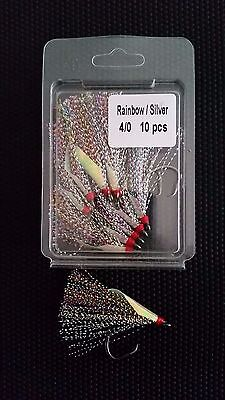 10 x Snapper Snatcher Flasher Circle Hooks Rainbow & Silver Size 4/0 Luminous