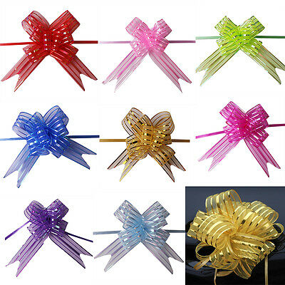10pcs 50mm Large Organza Pull Bows Ribbon Sheer Wedding Favors Gift  Box Wrap