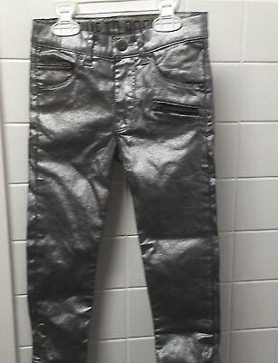 Boys Girls Size 4 H&M Silver Metallic Skinny Stretch Jeans Rock N Roll EUC