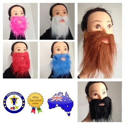 Fake False Beard Moe Moustache Pink Red Black Brown White Green Scruffy Costume