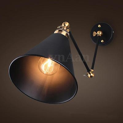 270° Vintage Retro Industrial Loft Swing Arm Wall Light Lamp Sconce Lampshade
