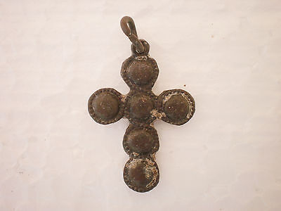 RARE Wearable Medieval Bronze PENDANT CROSS 17 century AD