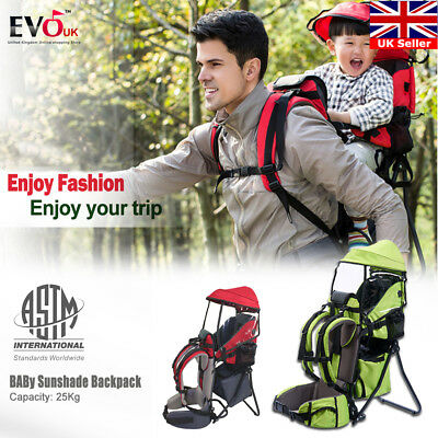 Child Kid  Sling Carrier Baby Toddler Hiking Backpack With Sun Canopy Raincover