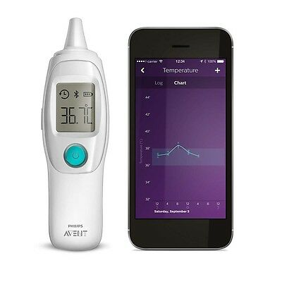 Philips Avent Smart Ohrthermometer Fiebertermometer Sch740/86 Ugrow-App Led