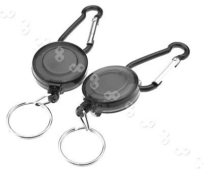 2 Pcs Retractable Key Chain Badge Reel Recoil Carabiner ID Ski Pass Holder YoYo