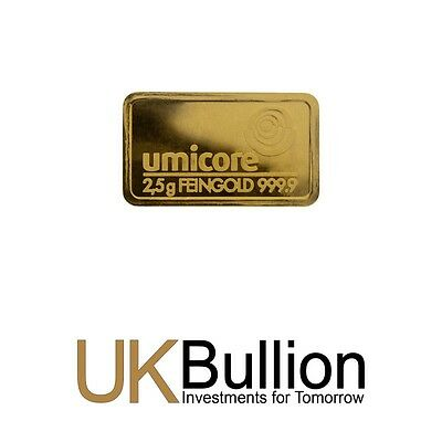Umicore 2.5g (Gram) Gold Bar 999.90 FREE INSURED DELIVERY