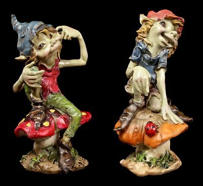 Pixie Figuren - Spaß auf Pilzen - 2er Set - Kobold Anthony Fisher Deko Fantasy