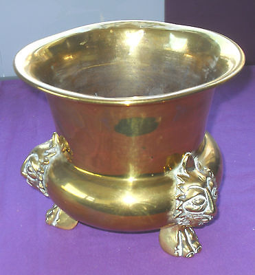 Antique Solid Brass Jardinere Planter Plant Pot Lion Head & Paw Feet