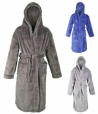 Boys Luxury Hooded Dressing Gown Fleece Bath Robe Housecoat Kids Xmas Gift Size