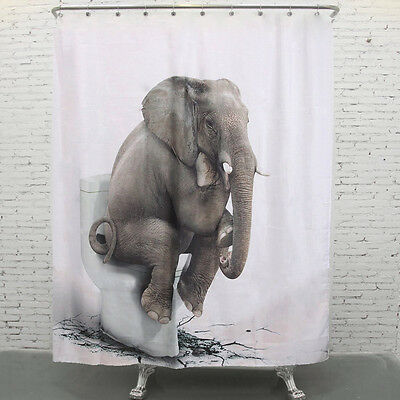 180X180cm Elefante Cortina Ducha Baño Gancho Bathroom Shower Curtain Impermeable