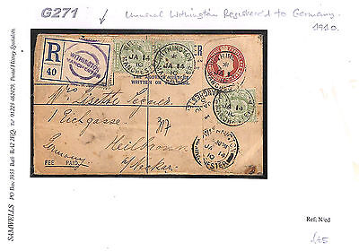 G271 1910 GB Manchester/Withington Registered Stationery/Germany