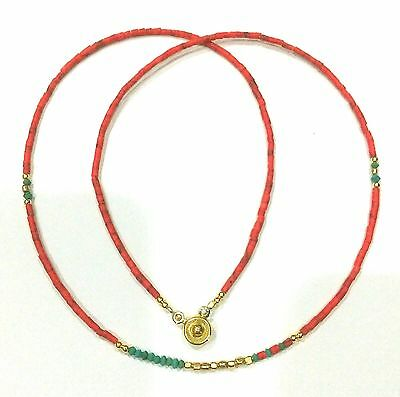 Afghan Natural Coral & Malachite Tiny Seed Beads Necklace Gold Plated