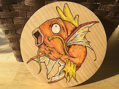 "Wood burned Magicarp 5"" Pine circle"