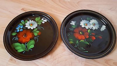 Lot of 2 Vintage Soviet Russian Hand Painted Floral Flowers Metal Plate