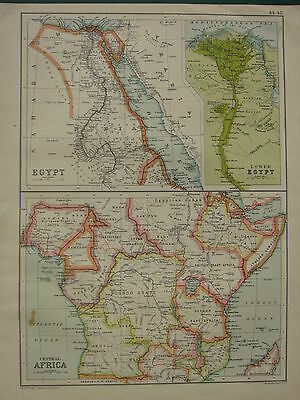 1902 Antique Map ~ Egypt Nile Delta Abyssinia Cairo Suez Nubia Saud