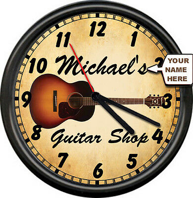 Personalized Guitar Shop Owner Sales Service Luthier Instrument Sign Wall Clock