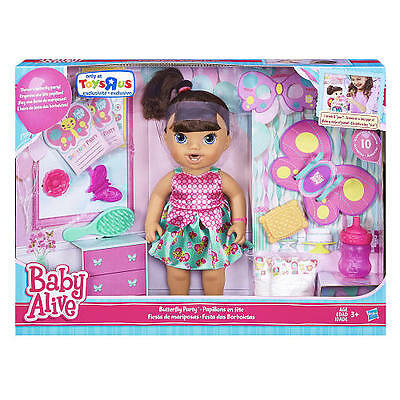 Baby Alive Brianna's Butterfly Party Brunette Playset - BRAND NEW!