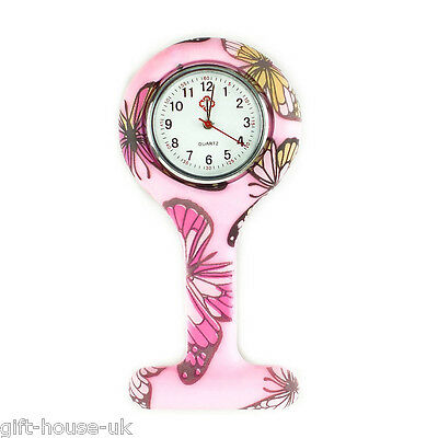 New Fashion Silicone Brooch Tunic Fob Nurse Watch  Butterfly Pink  Latest Design
