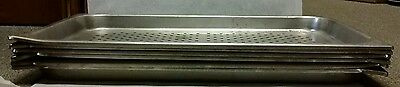 """Full Size Perforated Stainless Steel Steam Table/Hotel Pan- 1 1/4"""" Deep Lot of 6"""