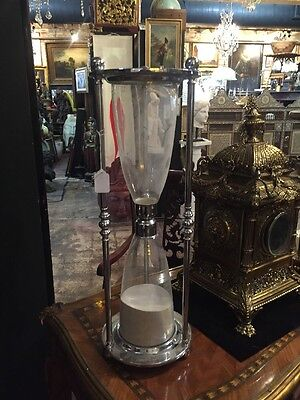 "A Fabulous Vintage Chrome & Original Glass Hour Glass HUGE 24""!!"
