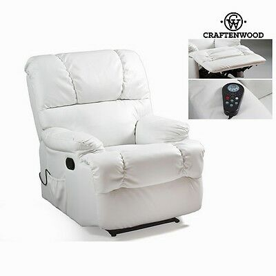 **CRAFTENWOOD** Leather Massage Chair - Electric Recliner - White Relax Armchair