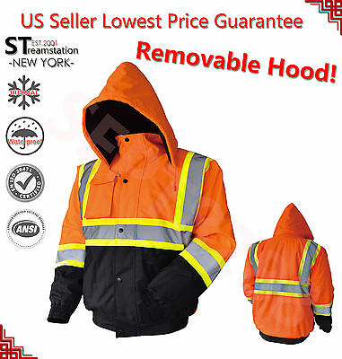 Hi Vis Insulated Safety Bomber Reflective Jacket Coat HIGH VISIBILITY ORANGE