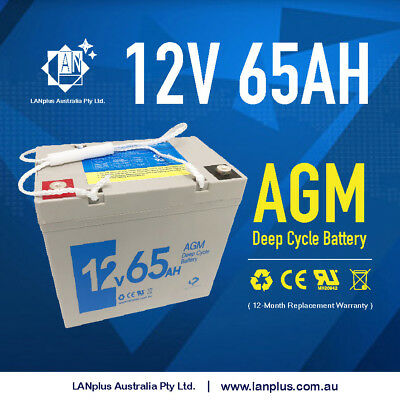 Brand NEW 12V 65AH AGM Deep Cycle Battery 4 Solar UPS Scooter Golf Buggy > 60AH
