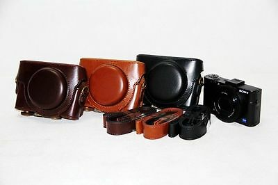 Leather Camera case bag Cover For Sony DSC-RX100 Mark II III IV M2 M3 M4 M5 V