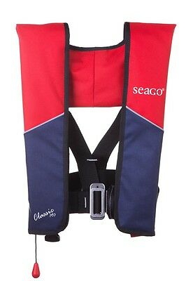 Seago Classic Manual Gas & Harness Inflation Lifejacket 190N - Red / Navy - A628