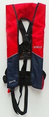Seago Classic Manual Gas Inflation Lifejacket 190N - Red / Navy - A629