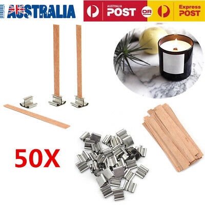 50pcs Wood Candles Core Wick Candle With Iron Sustainer 1.25cmX15cm