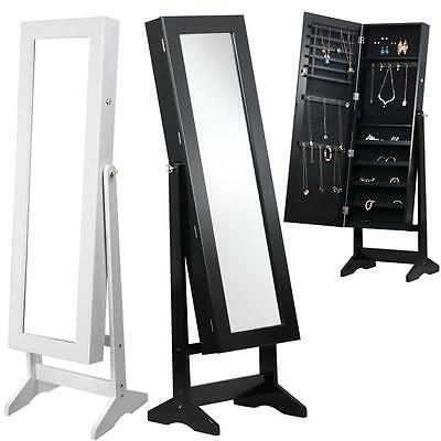 White/Black Floor Standing Mirror Jewellery Cabinet Makeup Storage Box Organiser