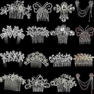 Nt Silver Bridal Wedding Flower Crystal Diamante Hair Comb Clip Slide Fascinator