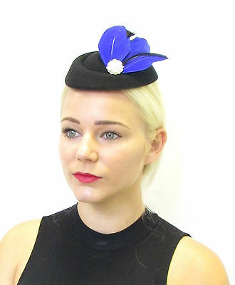 Royal Blue Black Feather Pillbox Hat Fascinator Headpiece Hair Vtg Silver 440