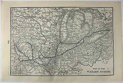 Original 1916 Map of the Wabash System Railroad