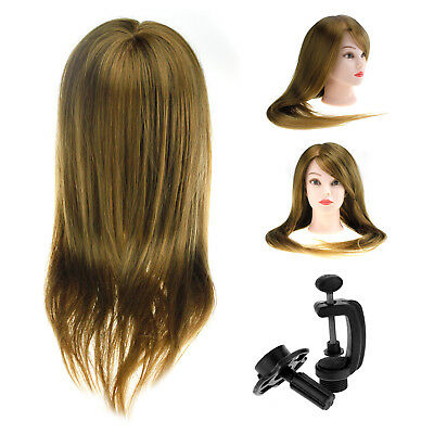 30% Real Human Hair Hairdressing Training Head Mannequin Model With Clamp Stand