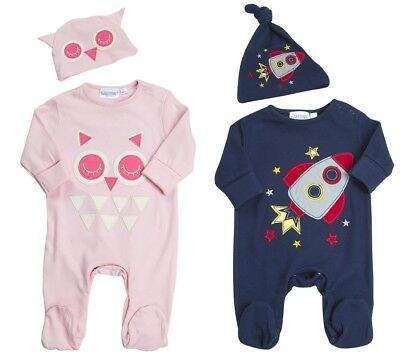 Baby Boys Girls Sleepsuit + Hat 2 Piece Outfit Romper Set Babygrow Infants Size