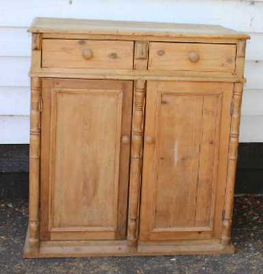 Lovely Original Pine Base/ Cupboard with 2 drawers and Shelves. Spindles. 1900's