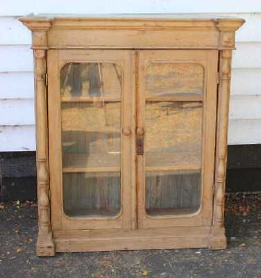 Lovely Original 1900's Pine 2 Door Glazed Bookcase with Spindle detailing.